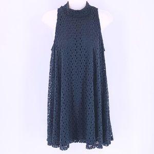 PLANET GOLD Black Lace Trapeze Mini Dress Medium